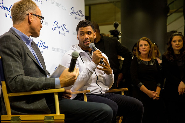 Russell Wilson Launches Good Man Brand at Nordstrom [nordstrom,russell wilson launches good man brand,seattle seahawks,event,youth,conversation,adaptation,convention,spokesperson,academic conference,news conference,job,management,seattle,washington,russell wilson,co-president,nordstrom pete nordstrom]