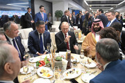 Kazakhstan's President Nursultan Nazarbayev, Russia's Prime Minister Dmitry Medvedev, Moldova's President Igor Dodon, Kyrgyzstan's President Sooronbay Jeenbekov, Russia's President Vladimir Putin, Saudi Arabia's Crown Prince Mohammed Bin Salman Al Saud, Anna Akopyan, wife of the Armenian Prime Minister Nikol Pashinyn, and Armenia's Prime Minister Nikol Pashinyn (L-R) attend the President's Lounge during the opening ceremony prior to the 2018 FIFA World Cup Russia Group A match between Russia and Saudi Arabia at Luzhniki Stadium on June 14, 2018 in Moscow, Russia.