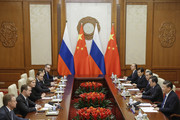 Chinese President Xi Jinping and Russian Prime Minister Dmitry Medvedev attend talks at the Diaoyutai state guesthouse on November 1, 2017 in Beijing, China. Medvedev is on an official three-day visit to China.