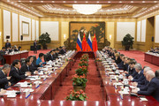 Chinese Premier Li Keqiang and Russian Prime Minister Dmitry Medvedev attend talks at the Great Hall of the People on November 1, 2017 in Beijing, China.