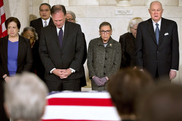 Ruth Bader Ginsburg Elena Kagan Antonin Scalia's Body Lies In Repose In Great Hall of U.S. Supreme Court