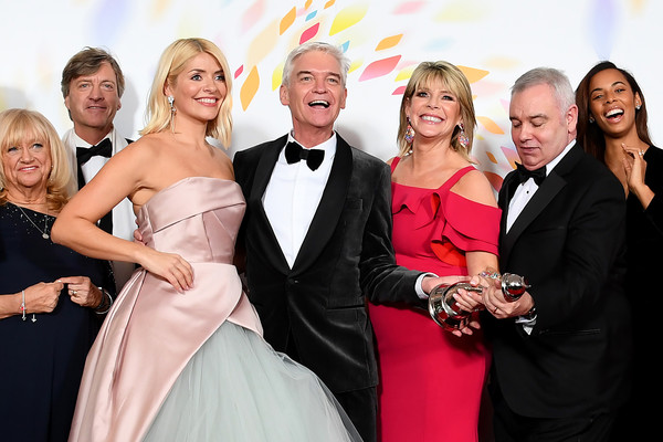 National Television Awards 2020 - Winners Room [this morning,photograph,facial expression,formal wear,event,red,dress,suit,skin,fashion,yellow,richard madeley,judy finnigan,rochelle humes,phillip schofield,ruth langsford,l-r,room,winners room,national television awards,phillip schofield,ruth langsford,holly willoughby,judy finnigan,richard madeley,eamonn holmes,this morning,good morning britain,loose women,national television awards]