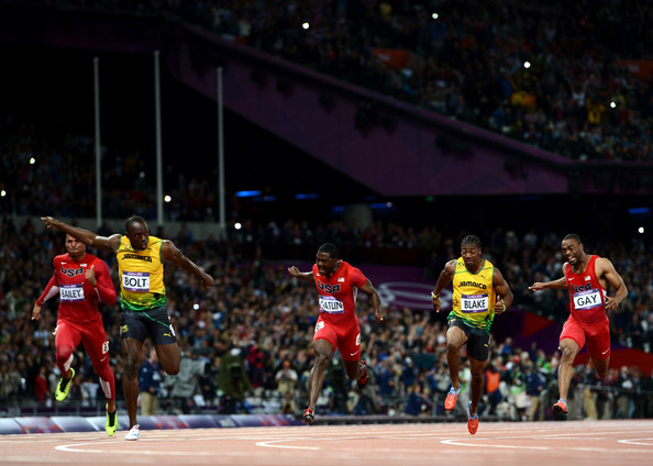 ... Yohan Blake of Jamaica, Justin Gatlin of the United States and Tyson Gay ...