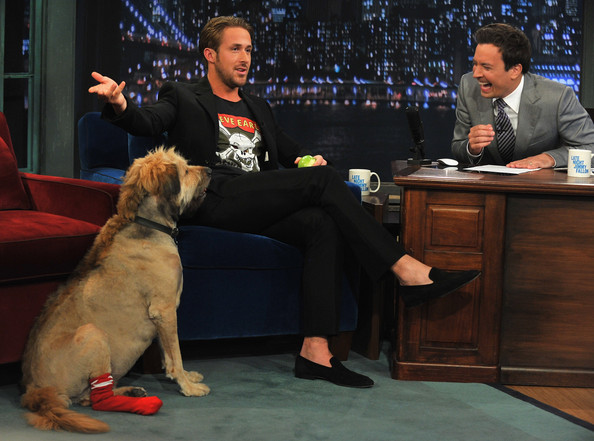 "Ryan Gosling Ryan Gosling along with his dog George visits ""Late Night With Jimmy Fallon"" at Rockefeller Center on July 20, 2011 in New York City."