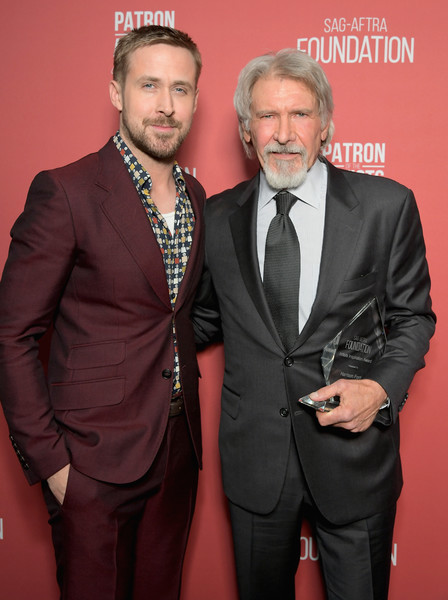 SAG-AFTRA Foundation's 3rd Annual Patron of the Artists Awards [suit,formal wear,tuxedo,facial hair,event,premiere,carpet,tie,beard,harrison ford,ryan gosling,artists inspiration award,beverly hills,california,wallis annenberg center for the performing arts,l,sag-aftra foundations 3rd annual patron of the artists awards]