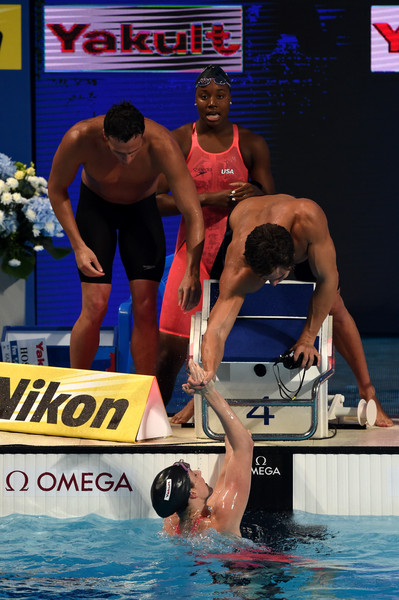 Swimming - 16th FINA World Championships: Day Fifteen [sports,swimmer,swimming,recreation,competition,individual sports,swimming pool,barechested,muscle,championship,ryan lochte,simone manuel,missy franklin,bottom,gold medal,world,kazan arena,united states,l,fina world championships]