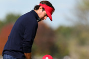 Bubba Watson and Webb Simpson of the USA team wait on the fifth green during the Afternoon Four-Ball Matches for The 39th Ryder Cup at Medinah Country Club on September 28, 2012 in Medinah, Illinois.