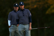 Bubba Watson and Webb Simpson of the USA wait on the fifth hole during day two of the Morning Foursome Matches for The 39th Ryder Cup at Medinah Country Club on September 29, 2012 in Medinah, Illinois.