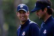 Webb Simpson (L) and Bubba Watson of the USA walk together during a practice round during the second preview day of The 39th Ryder Cup at Medinah Country Golf Club on September 25, 2012 in Medinah, Illinois.