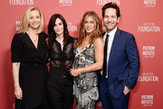 (L-R) Courteney Cox, winner of the 'Artists Inspiration Award' Jennifer Aniston, Lisa Kudrow and Paul Rudd attend SAG-AFTRA Foundation's 4th Annual Patron of the Artists Awards at Wallis Annenberg Center for the Performing Arts on November 07, 2019 in Beverly Hills, California.