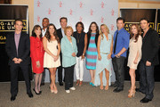 (L-R) Actors Greg Rikaart, Kate Linder, Redaric Williams, Melissa Claire Egan, Peter Bergman, co-creator Lee Phillips Bell, moderator Pat Harvey, producer Angelica McDaniel, actors Sharon Case, Michael Muhney, Tracey E. Bregman and Daniel Goddard attend the 40 years of 'The Young and The Restless' celebration presented by SAG-AFTRA at SAG-AFTRA on June 4, 2013 in Los Angeles, California.