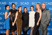 "(L-R) Nina Kiri, Amanda Brugel, Madeline Brewer, Ane Crabtree, Sydney Sweeney, Ever Carradine, and Robert Curtis Brown attend SCAD FASH Premiere of ""The Handmaid's Tale"" Exhibition at SCADshow on April 30, 2018 in Atlanta, Georgia."