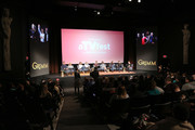 """(L-R) Actor Sasha Roiz, Actress Claire Coffee, Actress Bree Turner, Actor Silas Weir Mitchell, Actor David Giuntoli, Actress Bitsie Tulloch, Actor Russell Hornsby, Actor Reggie Lee, and moderator Kim Root speak at the """"Grimm"""" event during aTVfest 2016 presented by SCAD on February 7, 2016 in Atlanta, Georgia."""