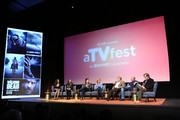 """(L-R)  Actress Christian Serratos, actress Alanna Masterson, actor Josh McDermitt, producer Denise Huth, production manager and producer Tom Luse, cinematorgapher, DP Michael Satrazemis and moderator Michael Jackson Chaney of SCAD speak during """"The Walking Dead"""" panel during aTVfest 2016 presented by SCAD on February 5, 2016 in Atlanta, Georgia."""