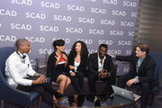 """Actors (L-R) .Aisha Hinds, Amirah Vann, Jurnee Smollett-Bell and Aldis Hodge and Actor, director, chair of film and television department, SCAD, D.W. Moffett attend a press junket for """"Underground"""" on Day One of aTVfest 2017 presented by SCAD on February 2, 2017 in Atlanta, Georgia."""
