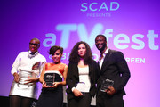 """Actors (L-R) Aisha Hinds, Amirah Vann, Jurnee Smollett-Bell and Aldis Hodge receive their Cast Award for """"Underground"""" on Day One of aTVfest 2017 presented by SCAD at SCADshow Mainstage on February 2, 2017 in Atlanta, Georgia."""
