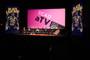 "(L-R) James Remar, Damon Gupton, Marvin ""Krondon"" Jones III, China Anne McClain, Nafessa Williams, Cress Williams, Christine Adams, Salim Akil, and Laura Prudom speak during a screening and Q&A for 'Black Lightning' on Day 3 of the SCAD aTVfest 2018 on February 3, 2018 in Atlanta, Georgia."
