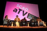 (L-R) Debra Birnbaum, Anthony Hemingway, Marcc Rose, Wavyy Jonez, and Bokeem Woodbine speak during a screening and Q&A for 'Unsolved: The Murders of Tupac and the Notorious B.I.G.' on Day 2 of the SCAD aTVfest 2018 on February 2, 2018 in Atlanta, Georgia.