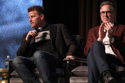 """David Boreanaz and John Glenn speak onstage at the """"SEAL Team"""" Q&A during SCAD aTVfest 2019 at SCADshow on February 09, 2019 in Atlanta, Georgia."""