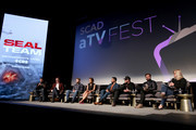 "David Boreanaz, John Glenn, Max Thieriot, Toni Trucks, Neil Brown Jr., A.J. Buckley, Judd Lormand, and Lynette Rice speak onstage at ""SEAL Team"" Q&A during SCAD aTVfest 2019 at SCADshow on February 09, 2019 in Atlanta, Georgia."