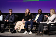 """(L-R) Sam Keeley, Beth Riesgraf and Jeremy Tardy attend the SCAD aTVfest 2020 - """"68 Whiskey"""" Press Junket on February 28, 2020 in Atlanta, Georgia."""