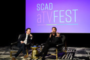 JD Heyman (L) and Eric McCormack attend SCAD aTVfest 2020 - In Conversation With Eric McCorck And Impact Award Presentation Press Junket on February 28, 2020 in Atlanta, Georgia.