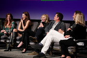 "(L-R) Aubrey Dollar, Melia Kreiling,Kim Cattrall, and Tate Taylor speak onstage at the SCAD aTVfest 2020 - ""Filthy Rich"" With Kim Cattrall Icon Award Presentation on February 27, 2020 in Atlanta, Georgia."