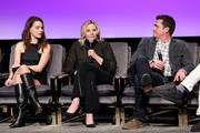"(L-R) Melia Kreiling ,Kim Cattrall, and Tate Taylor speak onstage at the SCAD aTVfest 2020 - ""Filthy Rich"" With Kim Cattrall Icon Award Presentation on February 27, 2020 in Atlanta, Georgia."