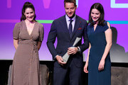 "Rebecca Huey, Justin Hartley, and Caroline Huey attend SCAD aTVfest 2020 - ""This Is Us""  Spotlight Award Presentation on February 29, 2020 in Atlanta, Georgia."