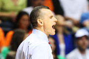 Head coach Billy Donovan of the Florida Gators yells to his team in the first half against the Ole Miss Rebels during the SEC Basketball Tournament Championship game at Bridgestone Arena on March 17, 2013 in Nashville, Tennessee.