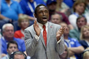 Avery Johnson the head coach of the Alabama Crimson Tide gives instructions to his team in the game against the Ole Miss Rebels during the second round of the SEC Basketball Tournament at Bridgestone Arena on March 10, 2016 in Nashville, Tennessee.