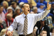 Head coach Billy Donovan of the Florida Gators yells to his players in the second half against the Alabama Crimson Tide during the semifinals of the SEC Baketball Tournament at Bridgestone Arena on March 16, 2013 in Nashville, Tennessee.