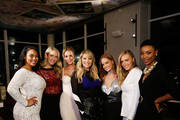 (L-R) Models Tabria Majors, Olivia Jordan, Allie Ayers, Christie Brinkley, Haley Kalil, Camille Kostek and Iyonna Fairbanks attend the SI Swimsuit 2018 Model Search celebration and preview of the Sports Illustrated Swim and Active Collection at Mr. Purple in Hotel Indigo LES November 1, 2017 in New York City.