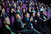 """(L-R)  Fedor Bondarchuk, Viacheslav Murugov, CEO at ROSKINO, film expert at Channel One and general producer and member of SPIMF's Board of Trustees Catherine Mtsitouridze and Sergey Selyanov attend the """"Rashkin"""" TV Series Q&A during the Saint Petersburg International Media Forum at the Velikan Theatre on October 8, 2014 in Saint Petersburg, Russia."""