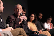 """(L-R) Executive producer of """"Counterpart"""" Jordan Horowitz, actors J. K. Simmons, Harry Lloyd, Nazanin Boniadi, Nicholas Pinnock and Sara Serraiocco speak onstage during the STARZ """"Counterpart"""" & """"Howards End"""" FYC Event at LACMA on May 23, 2018 in Los Angeles, California."""