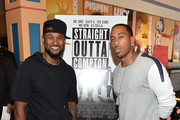 """Usher Raymond and Ludacris attend """"Straight Outta Compton"""" VIP screening with director/producer F. Gary Gray, producer Ice Cube, executive producer Will Packer and cast members at Regal Atlantic Station on July 24, 2015 in Atlanta, Georgia."""