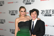 """Harley Quinn Smith (L) and Austin Zajur arrive at the premiere of Saban Films' """"Jay & Silent Bob Reboot"""" at TCL Chinese Theatre on October 14, 2019 in Hollywood, California."""