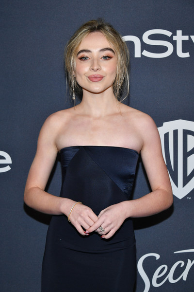 21st Annual Warner Bros. And InStyle Golden Globe After Party - Arrivals [clothing,dress,hairstyle,premiere,strapless dress,model,little black dress,long hair,car,vehicle,sabrina carpenter,beverly hills,california,the beverly hilton hotel,warner bros,instyle golden globe,instyle golden globe after party,arrivals,sabrina carpenter,golden globe awards,mean girls,girl meets world,disney channel circle of stars,hollywood foreign press association,photograph,musician]