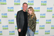 "Elvis Duran (L) and Sabrina Carpenter pose at ""The Elvis Duran Z100 Morning Show"" at Z100 Studio on March 12, 2019 in New York City."