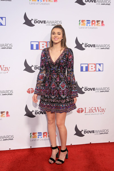 47th Annual GMA Dove Awards - Arrivals [duck dynasty,clothing,red carpet,carpet,dress,premiere,footwear,cocktail dress,joint,leg,flooring,arrivals,sadie robertson,gma dove awards,allen arena,nashville,tennessee,lipscomb university]