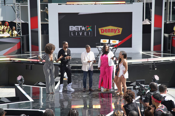 2018 BET Experience Live! Presented By Denny's - Day 1 [stage,event,performance,stage equipment,crowd,games,denny,mary-pat hector,thomas jordan jr.,amara la negra,safaree samuels,experience,l-r,l.a. live,bet,betx]
