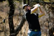 Ryan Moore plays his shot from the fifth tee during the third round of the Safeway Open at the North Course of the Silverado Resort and Spaon October 6, 2018 in Napa, California.