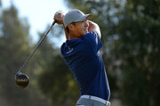Danny Lee of New Zealand plays his shot from the eighth tee during the second round of the Safeway Open at the North Course of the Silverado Resort and Spa on October 5, 2018 in Napa, California.