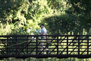 Ryan Moore walks across the bridge to the 10th tee during the second round of the Safeway Open at the North Course of the Silverado Resort and Spa on October 5, 2018 in Napa, California.
