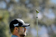 Ryan Moore plays his shot from the 18th tee during the second round of the Safeway Open at the North Course of the Silverado Resort and Spa on October 5, 2018 in Napa, California.