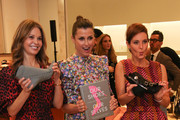 """Bridget Moynahan (C) and Stephanie Ruhle attend """"Our Shoes, Our Selves"""" By Bridget Moynahan book launch hosted by Saks Fifth Avenue on April 10, 2019 at Saks Fifth Avenue in New York City."""