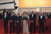 "(FromL) French producer and distributor Alexandre Mallet-Guy, Iranian actor Shahab Hosseini, Iranian director Asghar Farhadi, Iranian actress Taraneh Alidoosti, Iranian actor Babak Karimi and Iranian actor Farid Sajjadihosseini pose as they arrive on May 21, 2016 for the screening of the film ""The Salesman (Forushande)"" at the 69th Cannes Film Festival in Cannes, southern France.  / AFP / ANNE-CHRISTINE POUJOULAT"