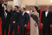 """Producer Alexandre Mallet-Guy, director Asghar Farhadi, actor Shahab Hosseini, actress Taraneh Alidoosti and actor Babak Karimi attend """"The Salesman (Forushande)"""" Premiere during the 69th annual Cannes Film Festival at the Palais des Festivals on May 21, 2016 in Cannes, France."""