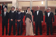 """Producer Alexandre Mallet-Guy, director Asghar Farhadi, actor Shahab Hosseini, actress Taraneh Alidoosti, actor Babak Karimi and actor Farid Sajjadihosseini attend """"The Salesman (Forushande)"""" Premiere during the 69th annual Cannes Film Festival at the Palais des Festivals on May 21, 2016 in Cannes, France."""