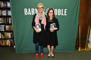"Sally Field (R) poses with Elizabeth Strout while promoting her book ""In Pieces"" at Barnes & Noble Union Square on September 18, 2018 in New York City."
